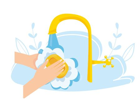Vector illustration of hand hygiene. Washing hand with soap. Viral disease prevention. Virus and bacteria protection. Daily personal care.