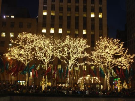 artificial lights: Christmas in New York
