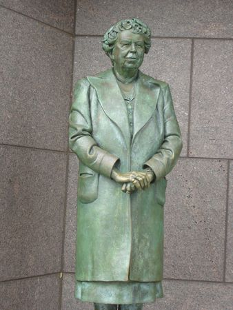 Eleanor Roosevelt at Roosevelt Memorial in Washington DC
