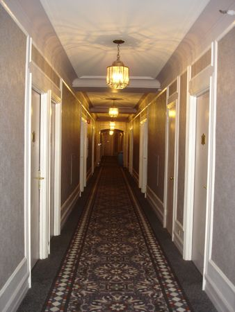 passageway: Hotel Hallway Stock Photo
