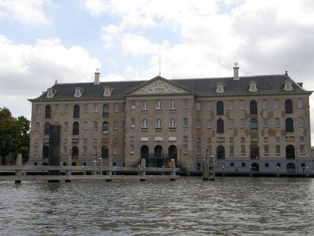 Building in Amsterdam Harbor, Holland