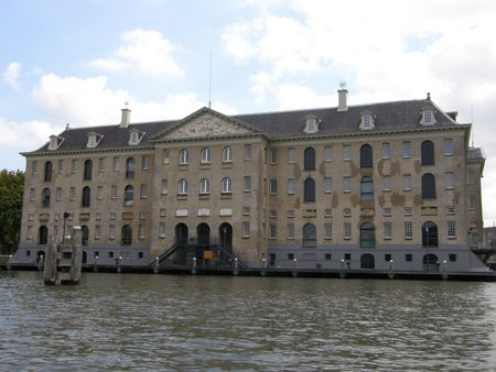 Building in Amsterdam Harbor, Holland photo