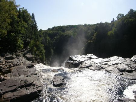 Waterfall at Canyon Ste-Anne in Quebec, Canada photo