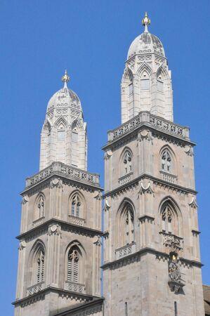 helvetica: Grossmunster Church in Zurich, Switzerland