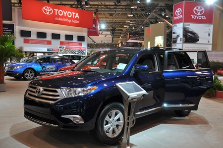 automaker: TORONTO - FEBRUARY 24: Toyota Exhibit on display at the 2011 Canadian International Auto Show on February 24, 2011 in Toronto