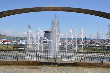 kingston: Confederation Arch Fountain in Kingston, Canada Editorial