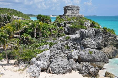 pre columbian: Tulum Mayan Ruins in Mexico Stock Photo
