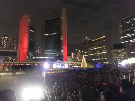 TORONTO - NOVEMBER 20: Cavalcade of Lights event at Nathan Philips Square on November 20, 2011 in Toronto, Canada