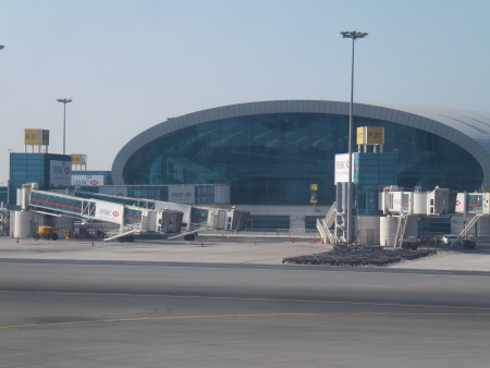 DUBAI, UAE - DEC 17  Dubai International Airport, one of the busiest airports, as seen on December 17, 2011  It is a major airline hub in the Middle East, and is the main airport of Dubai