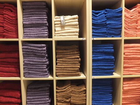 soft sell: Towels in a Store Stock Photo