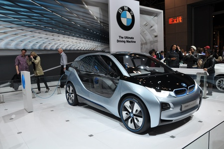 NEW YORK - APRIL 11: BMW i8 Concept Car at the 2012 New York International Auto Show running from April 6-15, 2012 in New York, NY. Stock Photo - 13244619