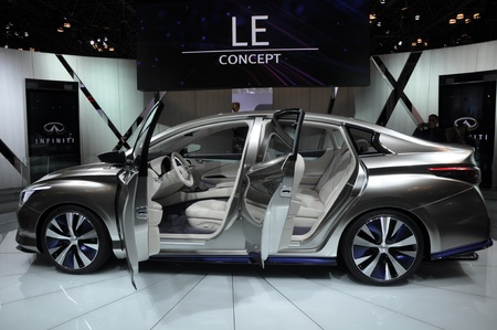 NEW YORK - APRIL 11: The Infiniti LE Concept Car at the 2012 New York International Auto Show running from April 6-15, 2012 in New York, NY. Stock Photo - 13244442
