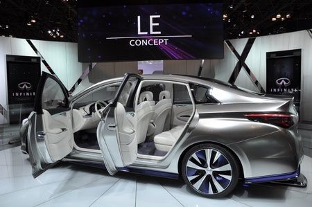 NEW YORK - APRIL 11: The Infiniti LE Concept Car at the 2012 New York International Auto Show running from April 6-15, 2012 in New York, NY. Stock Photo - 13244514