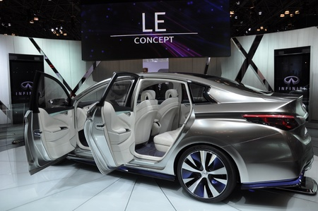 NEW YORK - APRIL 11: The Infiniti LE Concept Car at the 2012 New York International Auto Show running from April 6-15, 2012 in New York, NY. Stock Photo - 13244471
