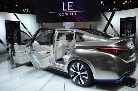 NEW YORK - APRIL 11: The Infiniti LE Concept Car at the 2012 New York International Auto Show running from April 6-15, 2012 in New York, NY. Stock Photo - 13244484