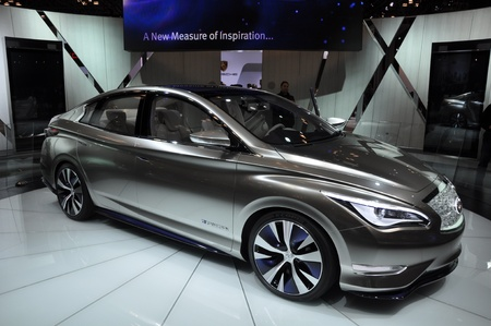 NEW YORK - APRIL 11: The Infiniti LE Concept Car at the 2012 New York International Auto Show running from April 6-15, 2012 in New York, NY. Stock Photo - 13244465
