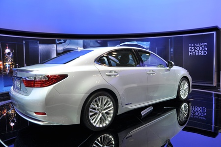 salon background: NEW YORK - APRIL 11: The all-new Lexus ES300h Hybrid at the 2012 New York International Auto Show running from April 6-15, 2012 in New York, NY.