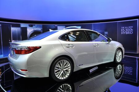 lexus: NEW YORK - APRIL 11: The all-new Lexus ES300h Hybrid at the 2012 New York International Auto Show running from April 6-15, 2012 in New York, NY.