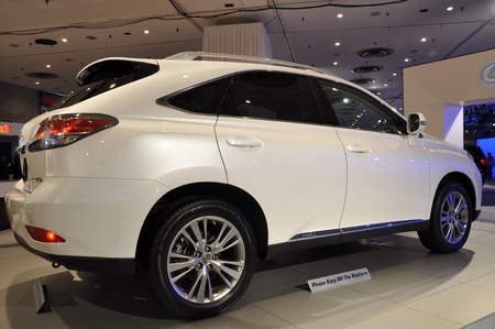 lexus auto: NEW YORK - APRIL 11: Lexus RX Hybrid SUV at the 2012 New York International Auto Show running from April 6-15, 2012 in New York, NY.