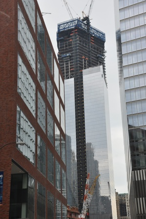 NEW YORK CITY - JUNE 30: Construction of One World Trade Center in Lower Manhattan as seen on June 30, 2012.