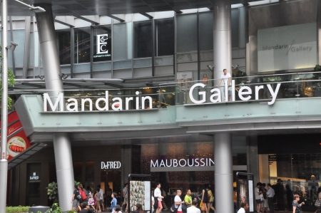 SINGAPORE - AUGUST 16  Mandarin Gallery on Orchard Road in Singapore on August 16, 2012  It is part of Mandarin Orchard Singapore a five-star hotel located at 333 Orchard Road in Singapore  Stock Photo - 21755555