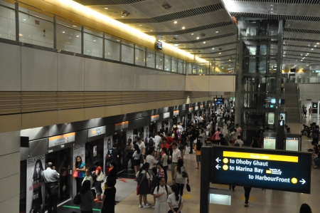SINGAPORE - AUGUST 15  The Mass Rapid Transit  MRT  station in Singapore as seen on August 15, 2012  The MRT has 102 stations   is the second-oldest metro system in Southeast Asia, after Manila s LRT