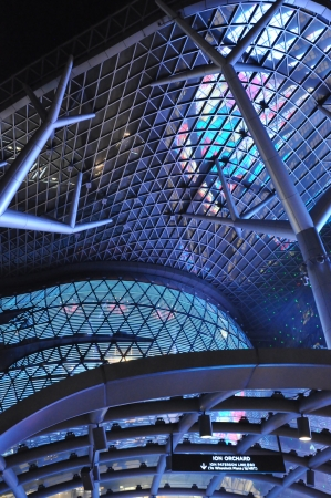 SINGAPORE - AUGUST 16  ION Orchard shopping mall on Orchard Road in Singapore on August 16, 2012 in Singapore  The Media Facade is a multi-sensory canvas media wall made with cutting-edge technology  Stock Photo - 21755565
