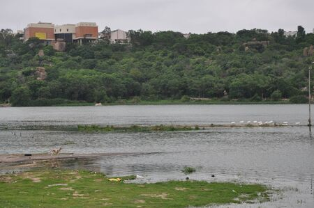 end of a long day: Durgam Cheruvu Lake in Hyderabad, India