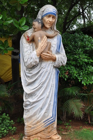 Statue of Mother Teresa at Shilparamam in Hyderabad, India Editorial