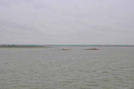 end of a long day: Osman Sagar Lake in Hyderabad, India