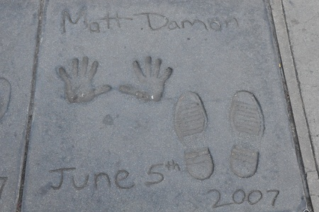 kodak: HOLLYWOOD, CA - DECEMBER 7   Footprints and hand prints of Matt Damon at the Kodak theater pictured on December 7, 2012 in Hollywood, California, USA  Editorial