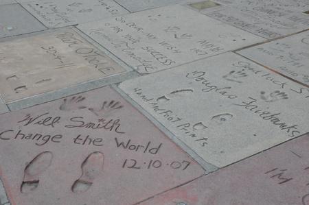 Hollywood boulevard: Superstar handprints at Hollywood Boulevard in California