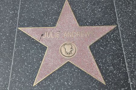 HOLLYWOOD - DECEMBER 7: Julie Andrew's star on Hollywood Walk of Fame on December 7, 2012 in Hollywood, California. This star is located on Hollywood Blvd. and is one of 2400 celebrity stars. Stock Photo - 17298405