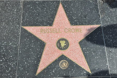 HOLLYWOOD - DECEMBER 7: Russell Crowes star on Hollywood Walk of Fame on December 7, 2012 in Hollywood, California.