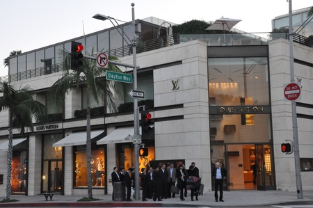 BEVERLY HILLS, CA - DEC 7  Louis Vuitton store at Rodeo Drive in Beverly Hills on December 7, 2012  Rodeo Drive is an affluent shopping district known for designer label and haute couture fashion  Éditoriale