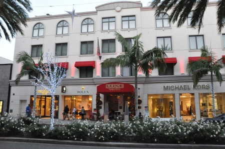 BEVERLY HILLS, CALIFORNIA - DECEMBER 7 Michael Kors and other stores at Rodeo Drive as seen on December 7, 2012 in Beverly Hills, California There are more than 100 world-renowned boutiques here