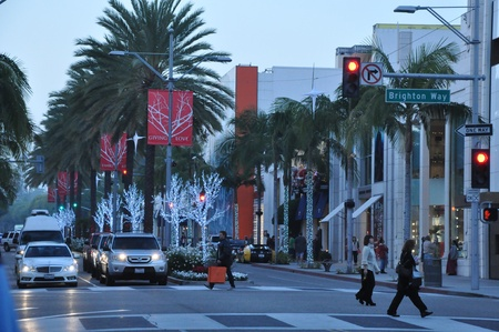 BEVERLY HILLS, CA - DEC 7: Rodeo Drive in Beverly Hills on December 7, 2012. Rodeo Drive is an affluent shopping district known for designer label and haute couture fashion.