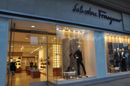 BEVERLY HILLS, CALIFORNIA - DECEMBER 7  Salvatore Ferragamo store at Rodeo Drive as seen on December 7, 2012 in Beverly Hills, California  There are more than 100 world-renowned boutiques here
