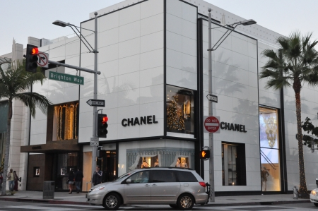 chanel: BEVERLY HILLS, CALIFORNIA - DECEMBER 7  Chanel store at Rodeo Drive as seen on December 7, 2012 in Beverly Hills, California  There are more than 100 world-renowned boutiques in this area