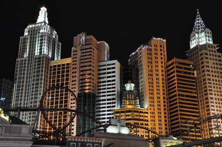 LAS VEGAS - DECEMBER 4  New York New York hotel-casino creating the impressive New York City skyline with skyscrapers and Statue of Liberty on Dec 4, 2012 in Las Vegas, Nevada  It was opened in 1997