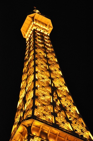 LAS VEGAS - DECEMBER 4  Eiffel tower of Paris Hotel on December 4, 2012 in Las Vegas, Nevada  This casino hotel is located on the Las Vegas Strip and includes a replica of the Eiffel Tower