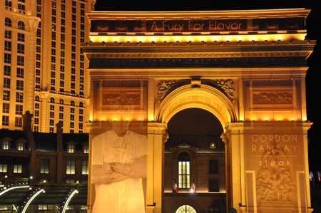 LAS VEGAS - DECEMBER 4  The Paris Hotel   Casino on December 4, 2012 in Las Vegas, Nevada  This hotel is located on the Las Vegas Strip and includes a replica of the Eiffel Tower and Arc De Triomphe