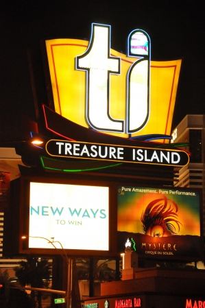 LAS VEGAS - DECEMBER 2  Treasure Island Hotel and Casino on December 2, 2012 in Las Vegas  This Caribbean themed resort has an hotel with 2,884 rooms  Editorial