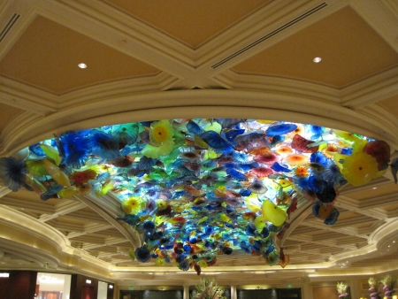 LAS VEGAS - JULY 9  Ceiling of the Bellagio in Las Vegas, on July 9, 2013  Dale Chihuly s Fiori di Como, composed of over 2,000 hand-blown glass flowers, covers 2,000 sq ft of the lobby ceiling  Stock Photo - 21969642