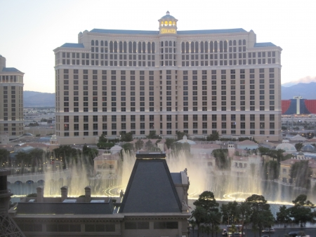 LAS VEGAS - DECEMBER 6  Bellagio hotel   casino fountains on December 6, 2012 in Las Vegas  The Fountains shoot water out of over 1,200 nozzles to create spectacular shows choreographed to music