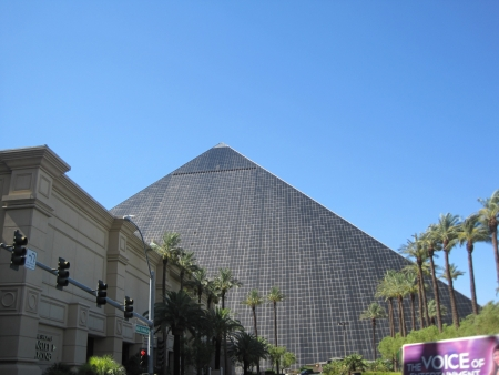 LAS VEGAS - JULY 8  The Luxor hotel and casino as seen on July 8, 2013 , The hotel, located on the Las Vegas Strip, contains a total of 4,400 rooms lining the interior walls of a pyramid style tower