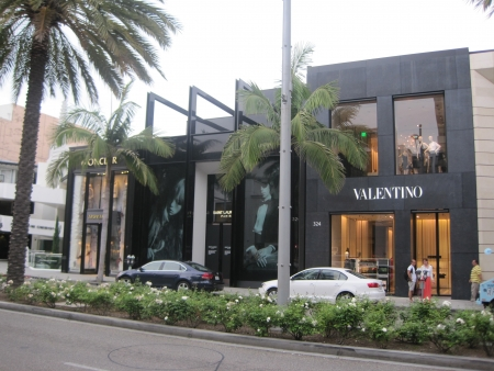 BEVERLY HILLS, CALIFORNIA - DECEMBER 7  YSL   Valentino stores at Rodeo Drive as seen on December 7, 2012 in Beverly Hills, California  There are more than 100 world-renowned boutiques in this area