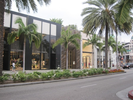 BEVERLY HILLS, CA - DEC 7  Rodeo Drive in Beverly Hills on December 7, 2012  Rodeo Drive is an affluent shopping district known for designer label and haute couture fashion