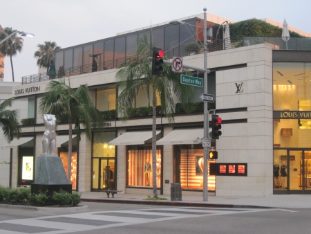 BEVERLY HILLS, CA - JULY 10  Louis Vuitton store at Rodeo Drive in Beverly Hills on July 10, 2013  Rodeo Drive is an affluent shopping district known for designer label and haute couture fashion