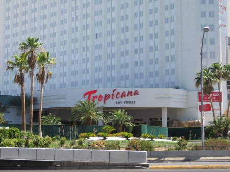 tropicana: LAS VEGAS - JULY 8  Tropicana Las Vegas as seen on July 8, 2013  This location, Tropicana - Las Vegas Boulevard intersection, has the most hotel rooms of any intersection in the world  Editorial